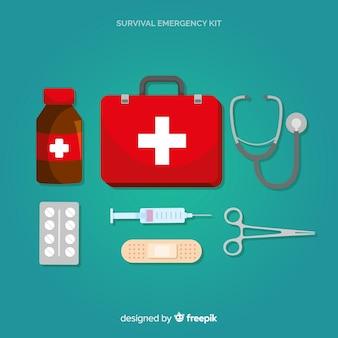 Creativo kit de emergencia en diseño flat