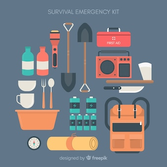 Creativo kit de emergencia en estilo flat
