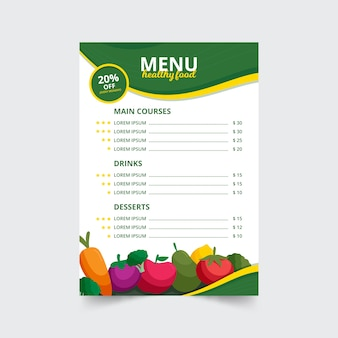 Creativo menú de restaurante de comida saludable con frutas y verduras ilustradas