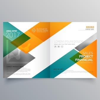 Creativo negocio bi fold folleto plantilla de diseño