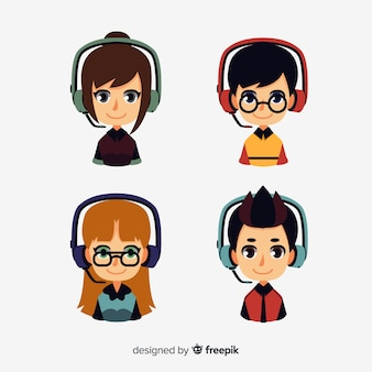 Creativo pack de avatares de call center