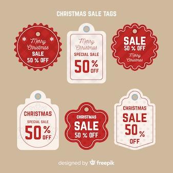 Creativo pack de etiquetas de rebajas de navidad