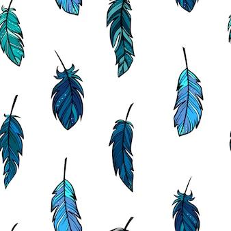 Creativo patrón sin costuras de plumas esbozado