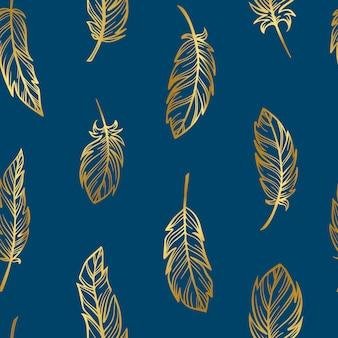 Creativo patrón sin costuras de plumas de oro