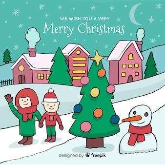 Creativo pueblo de navidad dibujado a mano