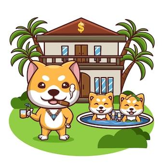 Creativo rich doge villa piscina dibujos animados linda ilustración