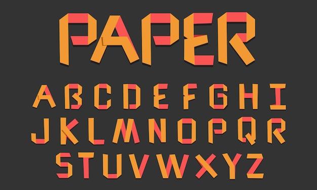 Creativos alfabetos de papel amarillo plegado