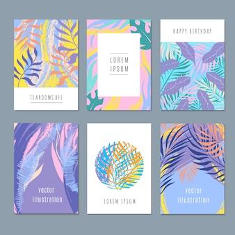 Creativos dibujos vectoriales fondos de moda con gráficos de naturaleza y hojas tropicales de verano.