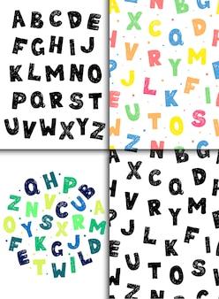 Creativos patrones sin fisuras con letras