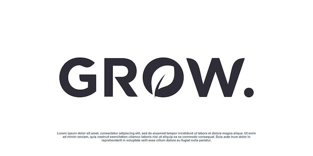 Crecer diseño de logotipo con concepto de hoja creativa vector premium