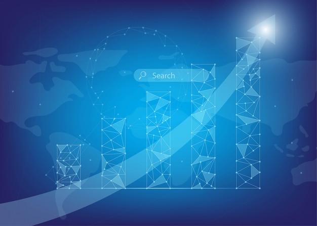 Creciendo infografía con baja poli y puntos de luz