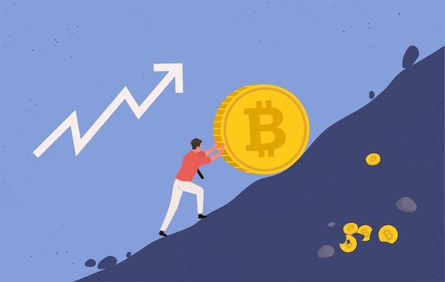 Crecimiento al alza de bitcoin. miner levanta una gran moneda bitcoin cuesta arriba, concepto de tendencia ascendente. ilustración plana.