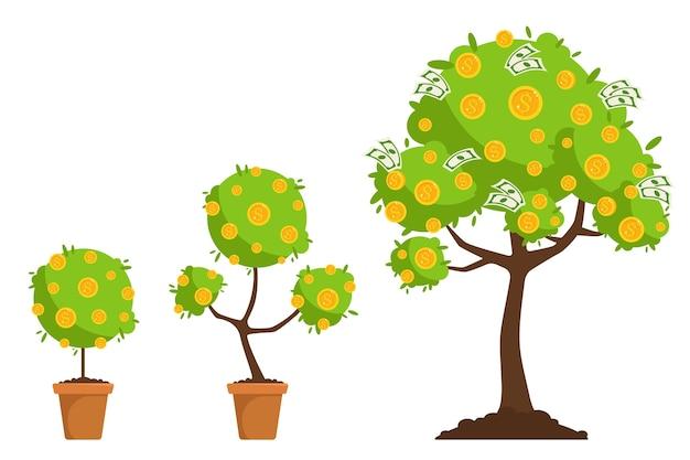 Crecimiento del árbol del dinero. concepto de inversión de dinero. ilustración en un estilo plano.