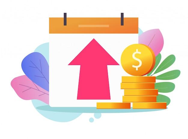 Crecimiento de beneficios monetarios o beneficio del icono de ilustración de gráfico de inversión en efectivo de economía, concepto de valor de inflación económica