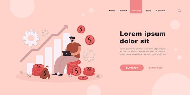 Crecimiento de capital de dibujos animados y página de inicio de metáfora de ganancias en efectivo en estilo plano