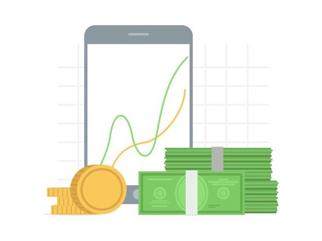 Crecimiento, concepto de éxito en estilo plano con gráfico de gráfico en la pantalla del gadget y dinero