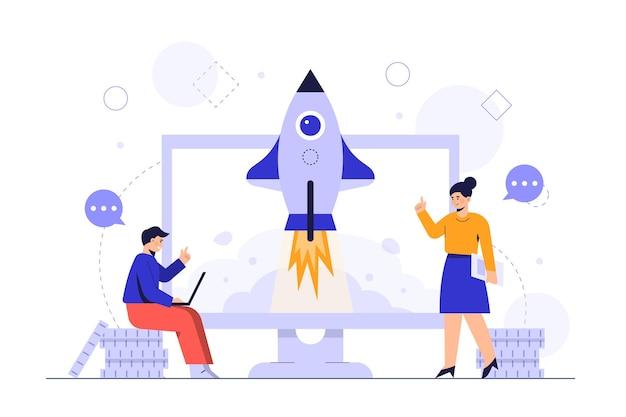 El crecimiento del concepto de negocio y la ilustración de vector de carrera de un empresario que se ejecuta con aumento gráfico gráfico en el monitor.