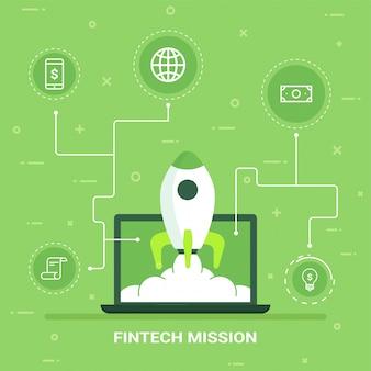 Crecimiento del dinero del internet o concepto del lanzamiento. fin-tecnología (tecnología financiera) de fondo.