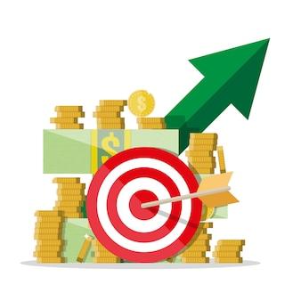 Crecimiento de efectivo. flecha verde. dolares y monedas