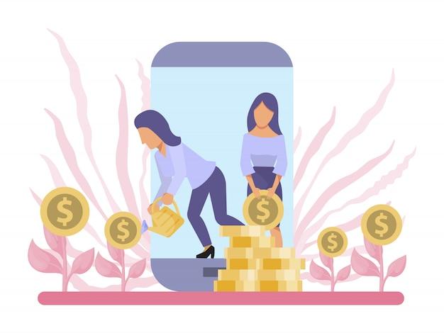 Crecimiento empresarial, árbol de dinero, inversión en línea