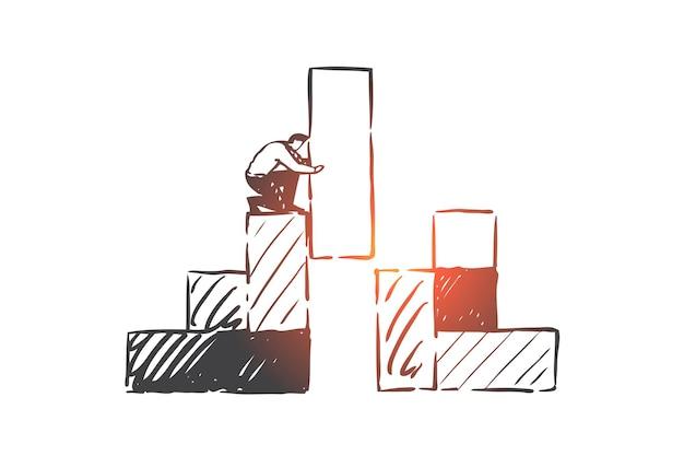Crecimiento, estrategia, ilustración de esbozo de concepto de éxito