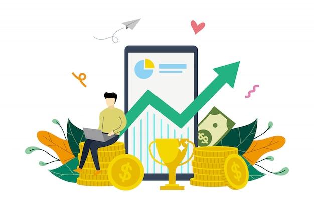 Crecimiento de ganancias comerciales, aumento de ganancias, finanzas subiendo plantilla de ilustración plana