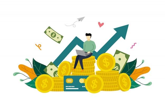 Crecimiento de ganancias comerciales, aumento de ganancias, pila de monedas y flecha ascendente de gráfico plantilla de ilustración plana