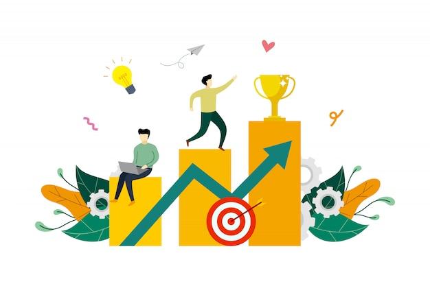 El crecimiento de las ganancias comerciales para el éxito, las ganancias financieras aumentan la ilustración plana