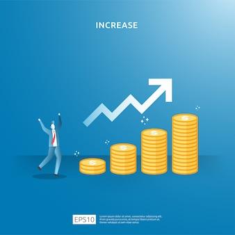 El crecimiento de las ganancias comerciales, la venta aumenta los ingresos del margen con el símbolo del dólar. ilustración de concepto de aumento de tasa de salario de ingresos con carácter de personas y flecha. rendimiento financiero del retorno de la inversión roi