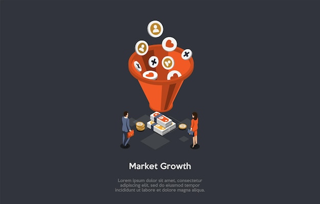 Crecimiento del mercado, concepto de prosperidad empresarial. socios comerciales se paran delante de la cesta grande y montones de dinero con maletines. diferentes iconos caen en la cesta. 3d ilustración vectorial isométrica.