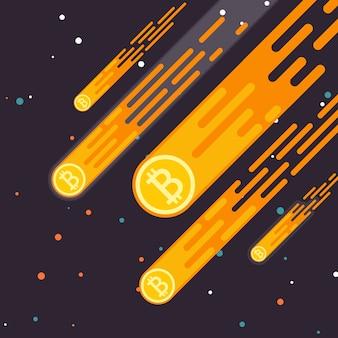 El crecimiento de la moneda de bitcoin crypto es una caída en la moneda digital.