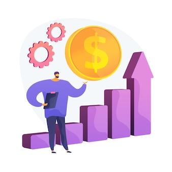 Crecimiento de las ventas. analítica de comercio, análisis de beneficios, analista de negocios. plan de marketing. marketologist con personaje de dibujos animados de portapapeles. ilustración de metáfora de concepto aislado de vector