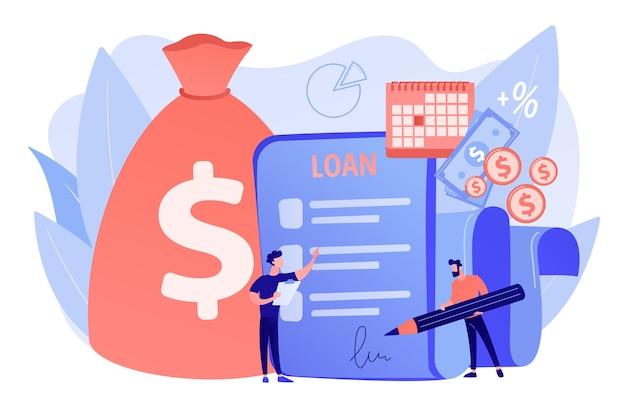 Credito bancario. gestión financiera. firma del contrato de préstamo. crédito hipotecario