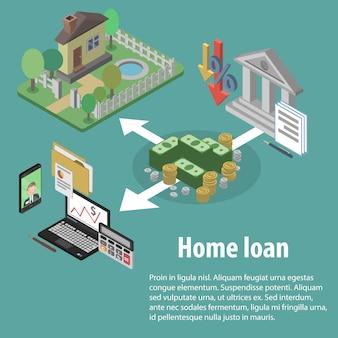 Crédito bancario isométrico