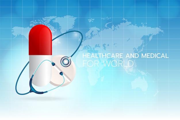 Cree una imagen de estetoscopio médico alrededor de un medicamento sobre un fondo cian con el mapa mundial y la cuadrícula