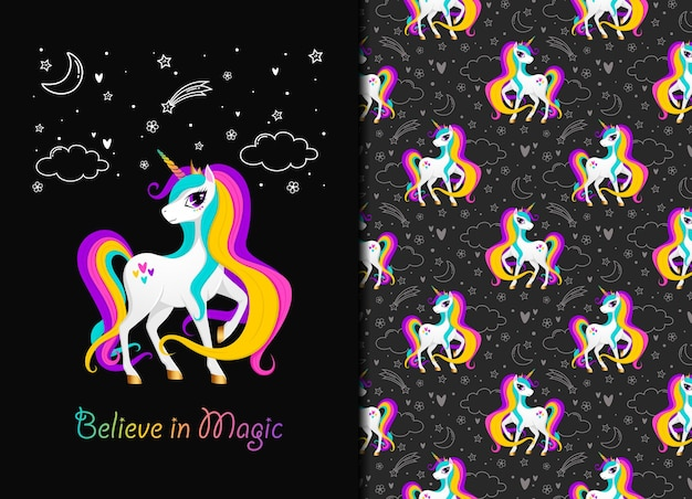 Cree en el patrón mágico de unicornio seamles