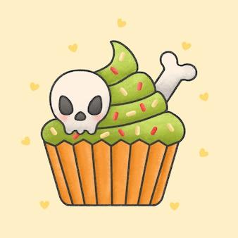 Creepy halloween calaveras cupcake dibujos animados estilo dibujado a mano