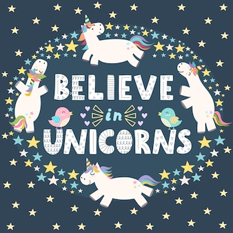 Creer en unicornios linda tarjeta.