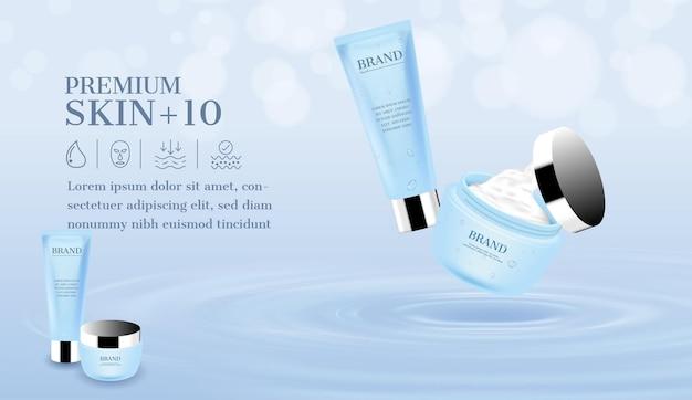 Crema abierta y espuma facial flotando sobre la superficie del agua