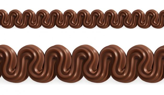 Crema batida de chocolate, malla de patrones sin fisuras de vector