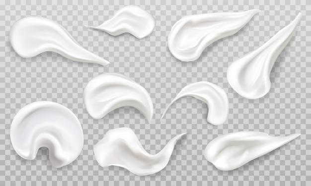 Crema blanca frotis swatch set. cosméticos belleza productos para el cuidado de la piel trazos.