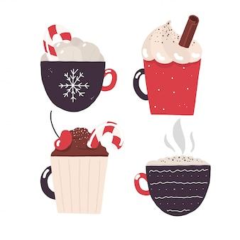 Crema de chocolate caliente de invierno y navidad cacao.eps