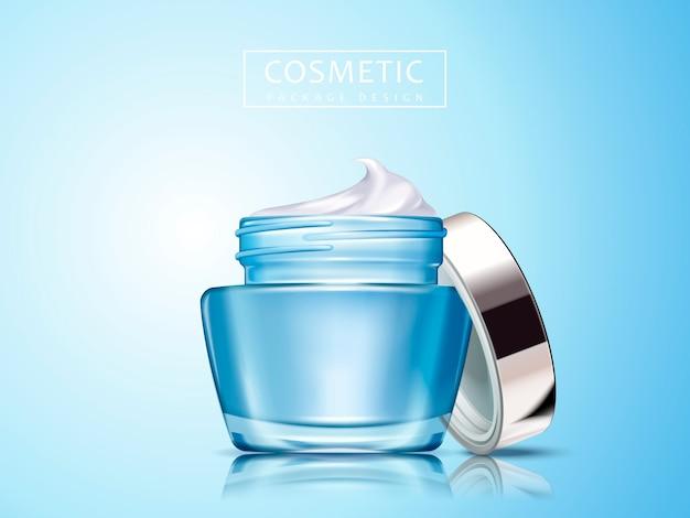 Crema cosmética contenida en frasco cosmético en blanco, fondo azul claro aislado, se puede utilizar como elementos