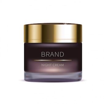 Crema cosmética nocturna para la piel del rostro.