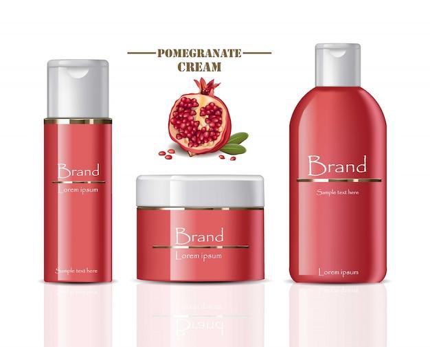 Crema de cosméticos botellas de granada