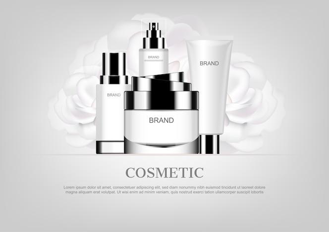 Crema de día con rosas blancas, anuncios cosméticos vectoriales