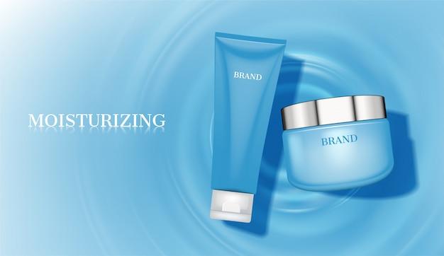 Crema y espuma sobre fondo azul círculos de agua concéntricos