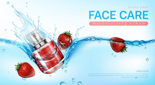 Crema facial y fresas en salpicaduras de agua