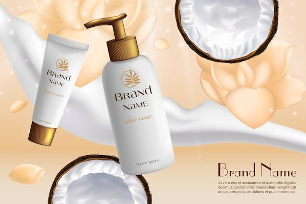 Crema hidratante de leche de botella realista de cosméticos de coco