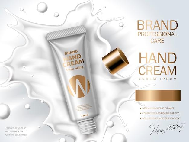 Crema de manos contenida en tubo cosmético, leche blanca, ilustración 3d